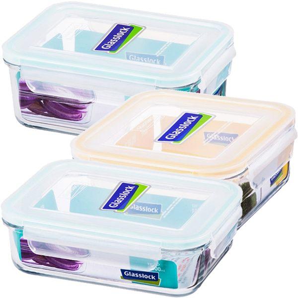 強化玻璃微波保鮮盒精緻便當盒3件組長型+方型Glasslock-大廚師百貨