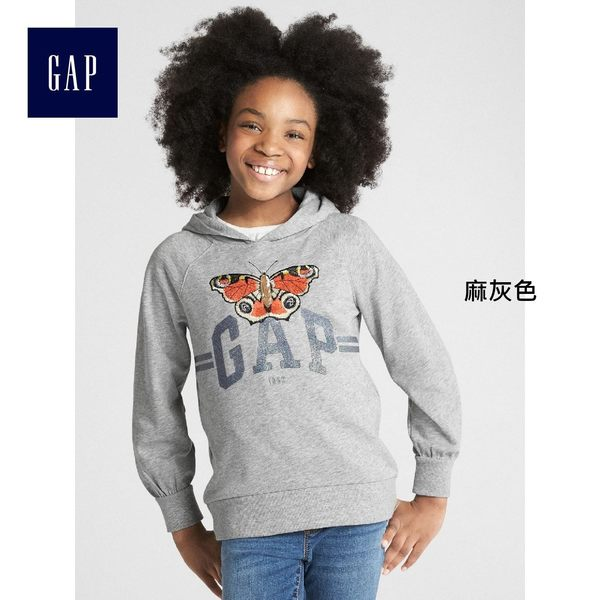 Gap女童 logo兒童連帽休閒上衣 印花長袖運動衫帽T 349897-麻灰色