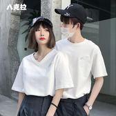 情侶裝春裝套裝短袖V領情侶款T恤