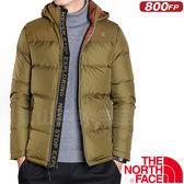 The North Face TNF 35BK-YCS棕綠 男800FP耐磨保暖羽絨衣 雪衣羽絨服/防風夾克機能鵝絨外套