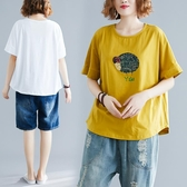 大碼女裝 胖mm減齡韓版洋氣百搭短袖t 寬鬆顯瘦遮肚上衣