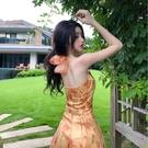 掛脖洋裝 法式復古掛脖歐根紗中長款露背油畫連身裙氣質碎花仙女度假吊帶裙 韓國時尚 618