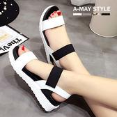 涼鞋-羅馬拼色鬆緊厚底涼鞋