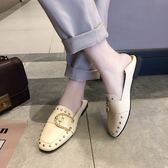 單鞋女款英倫百搭平底淺口鉚釘方頭小皮鞋網紅方扣豆豆鞋  魔法鞋櫃
