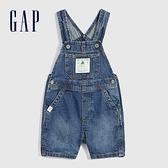 Gap嬰兒 可愛純棉開襠牛仔吊帶褲 860460-中度水洗