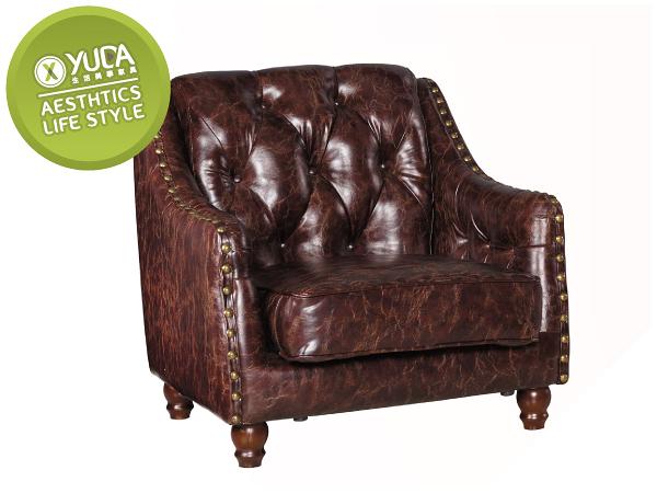 【YUDA】巴洛克風格 低調 古典 奢華 奧斯丁 透氣皮 單人 一人座 沙發/沙發椅/坐沙發  J0S 123-7