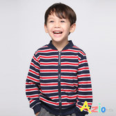 Azio男童 外套 圓領條紋相間拉鏈外套 (紅藍) Azio Kids 美國派 童裝