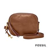 FOSSIL ELLE 真皮雙層拉鍊側背包-咖啡