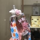 創意帶吸管玻璃杯子便攜清新森系隨手水杯