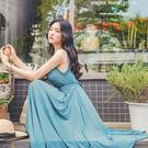 SISI【D6156】韓版優雅性感V領無袖背心超大不規則大裙襬連身長裙洋裝(附腰帶)