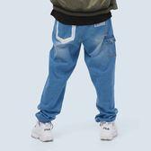 二次元口袋寬版牛仔長褲 STAGE BOLD LINE DENIM PANTS 淺藍