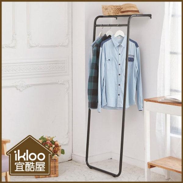 BO雜貨【YV9075】ikloo~日系靠壁式層板掛衣架 掛衣桿 層板掛衣架 衣帽架 單桿收納衣架 曬衣架