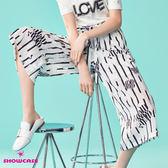 【SHOWCASE】條紋印花綁帶雪紡寬褲(白)