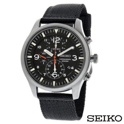 SEIKO精工 潮流個性計時運動帆布腕錶-黑 SNDA57