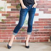 牛仔褲--蕾絲滾條繡線復古刷色魚紋九分/反折七八分小直筒牛仔褲(S-7L)-S74眼圈熊中大尺碼