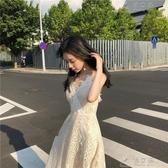 吊帶洋裝女夏韓版甜美新款超仙氣質V領露背蕾絲打底溫柔仙女裙 俏女孩