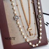 項鍊 日韓派對華麗鑰匙六瓣花多層次珍珠串超長款項鍊【QQJ5029】