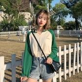 2018韓版長袖T恤女學生百搭拼色寬鬆V領上衣