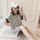 條紋T恤裙大碼中長款POLO純棉韓版新款學生短袖打底體恤衫上衣潮 黛尼時尚精品