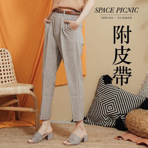 長褲 Space Picnic|復古反折直筒西裝長褲-附皮帶(現+預)【C19051055】