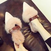 毛毛拖鞋女外穿秋冬包頭半拖鞋時尚百搭網紅懶人鞋兔毛平底穆勒鞋 可然精品