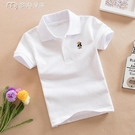 男童襯衫兒童純色短袖T恤男童純棉面料夏季半袖女童白色上衣中大童幼兒園 快速出貨