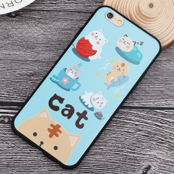 iphone 6 s plus 7 plus 卡通貓 小熊 浮雕 手機殼 全包 掛繩 軟殼
