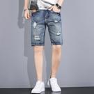 牛仔短褲男夏季薄款寬松直筒2021新款韓版潮流男士破洞五分中褲子