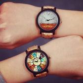 韓國原宿羅盤星空抽象復古休閒簡約流行男錶對錶女錶學生文青手錶皮帶手表[W031]