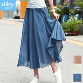 【V2848】shiny藍格子-文藝復古.麻棉鬆緊腰超大裙擺長裙