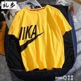 新款夏季男士短袖T恤圓領男裝上衣服歐美潮流印花體恤學生班服潮  (PINKQ)