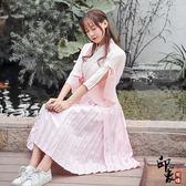 漢服古裝原創改良漢服女交領齊腰短裙蝴蝶結喇叭袖刺繡日常漢元素兩件套 快速出貨