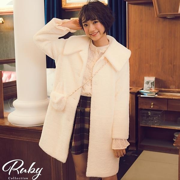 外套 翻領排扣毛海長版大衣外套-Ruby s 露比午茶