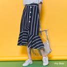 MD韓製-直紋側假排釦拼荷葉擺中裙S-M-2色【05020348】