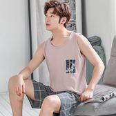 夏季睡衣男背心短褲韓版純棉無袖休閒薄款青年全棉大碼家居服套裝 依凡卡時尚