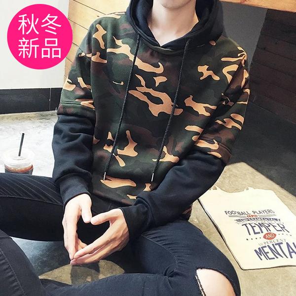 【5512】圓領假兩件男款迷彩潮流連帽T恤M-2XL(共3款)