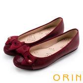 ORIN 時尚甜心 鞋頭壓紋全牛皮蝴蝶結娃娃鞋-紅色