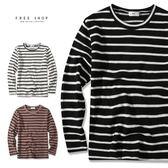 Free Shop MIT 落肩寬鬆內磨毛針織衫 條紋圓領上衣 共3色 橫條紋T 簡約百搭橫條紋針織衫【QSPG6521】