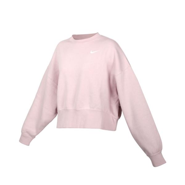 NIKE 女長袖T恤(免運 刷毛 保暖 休閒 寬版 上衣 大學T≡排汗專家≡