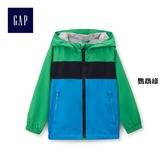 Gap男嬰幼童 柔軟拼色拉鏈連帽長袖防風外套 442580-鸚鵡綠