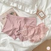 2條裝情侶內褲情侶款純色性感蕾絲中腰純棉襠網紗透氣平角褲【大碼百分百】