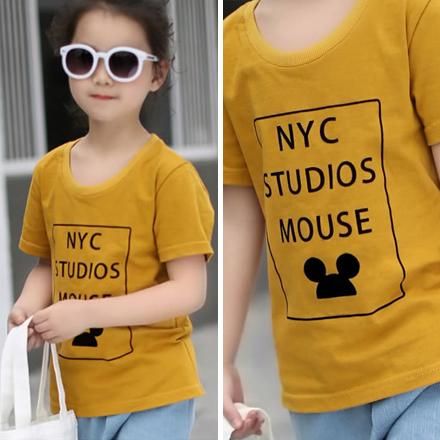 GU黃色NYC美式休閒字母短袖上衣親子裝(小孩)