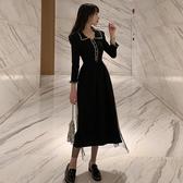 超殺出清 韓系復古氣質顯瘦赫本娃娃領長袖洋裝