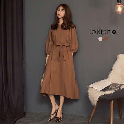 東京著衣-溫柔姐姐系綁帶側開衩七分袖洋裝-S.M(182104)
