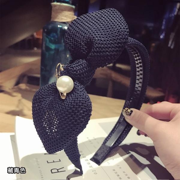 編織布大蝴蝶結珍珠別真髮箍 HTU824