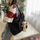 熱賣側背包 小熊帆布側背包網紅包包女布袋學生簡約大容量小清新韓版書包【618 狂歡】