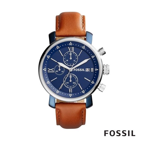 FOSSIL Rhett 造型深藍三眼計時咖啡色皮革手錶 42mm BQ2163