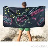 運動吸水速干浴巾旅行沙灘巾海邊健身兒童吸水巾成人游泳毛巾 莫妮卡小屋