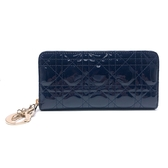 【台中米蘭站】全新品 DIOR Lady Dior 籐格紋漆皮拉鍊長夾(深藍)