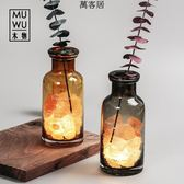水晶鹽燈【木物】喜馬拉雅玫瑰鹽礦物燈創意夜燈裝飾 萬客居